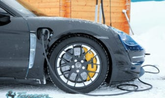 Massive brakes are featured on the Porsche Taycan EVin addition to regen braking
