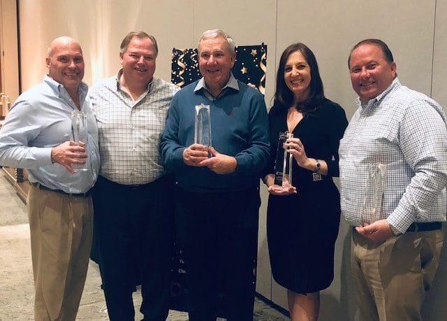BPI presented its leadership award to these five team members (left to right): Michael Caruso, vice president, finance and global controller; David Overbeeke, president and CEO of BPI; Mark Massoth, director of pricing; Kristin Grons, marketing manager – Raybestos; David Ferretti, vice president, sales – NAPA