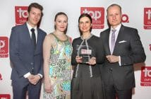 "Receiving the ""Top Employer for Engineers in Germany"" award for Knorr-Bremse are (from left): Dr. Yves Campera, Project Manager Commercial Vehicle Systems; Liv Petersen, Project Manager Rail Vehicle Systems; Berna Tulga-Akcan, Human Resources, and Thomas Thiede, Manager at Kiepe Electric GmBbH."