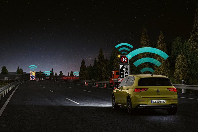 Volkswagen's car-to-x communication system allows cars to communicate with each other, with road infrastructure and emergency vehicles