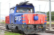 Rail Vision system mounted on cargo locomotive for Knorr-Bremse/Rail Vision test of obstacle-detection system