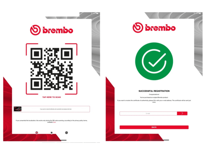"Screen shots of the new ""Quick Check"" smartphone app which can authenticate a brake part as being a genuine Brembo product"